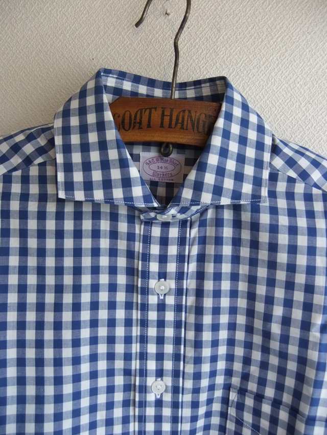 Widespread Collar Shirt Blue Gingham Workers
