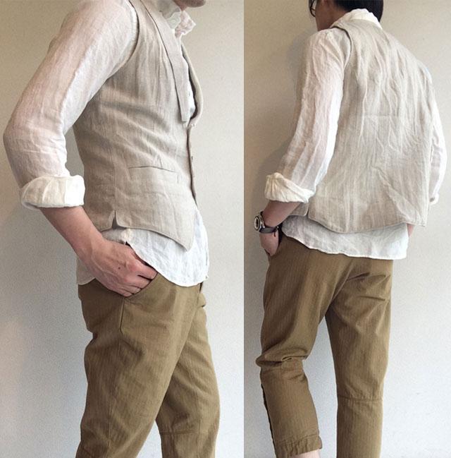 victorians linen waistcoat ecru着用画像