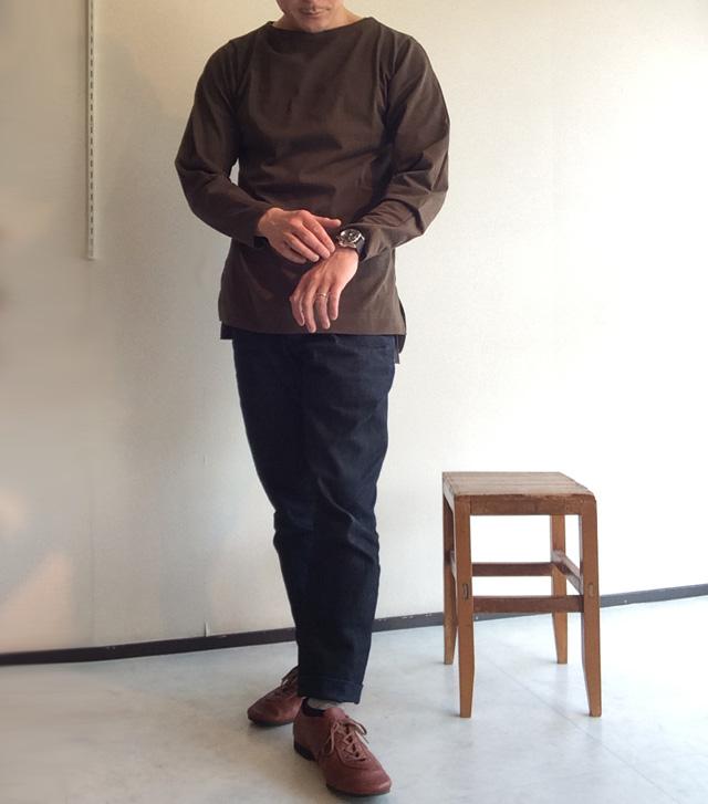 ボートネックシャツ オリーブ/TATAMIZE