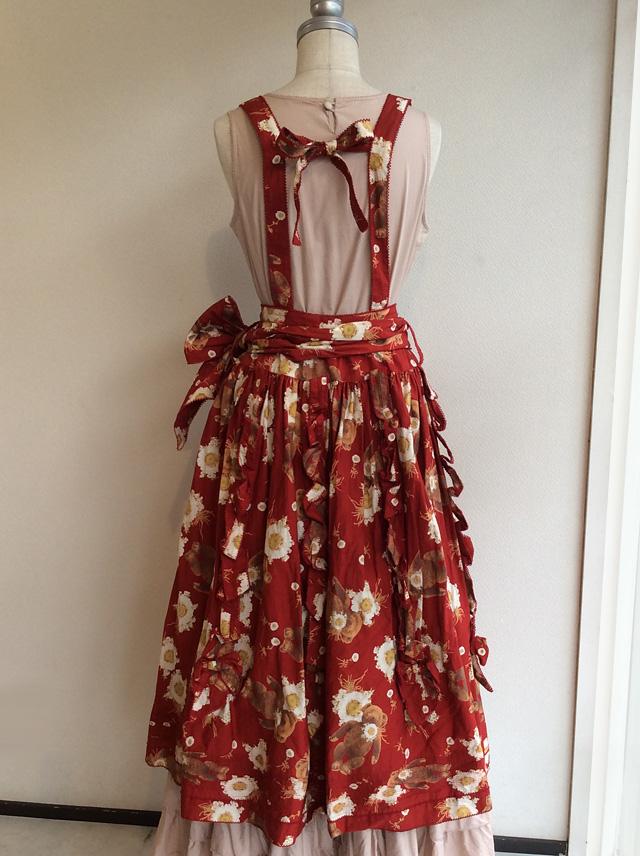 WONDERFULWORLD ワンダフルワールドマーガレットくま吊りスカート赤