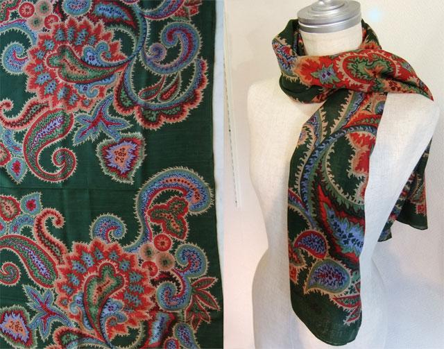 イタリアのヴィンテージウールシルク混スカーフ