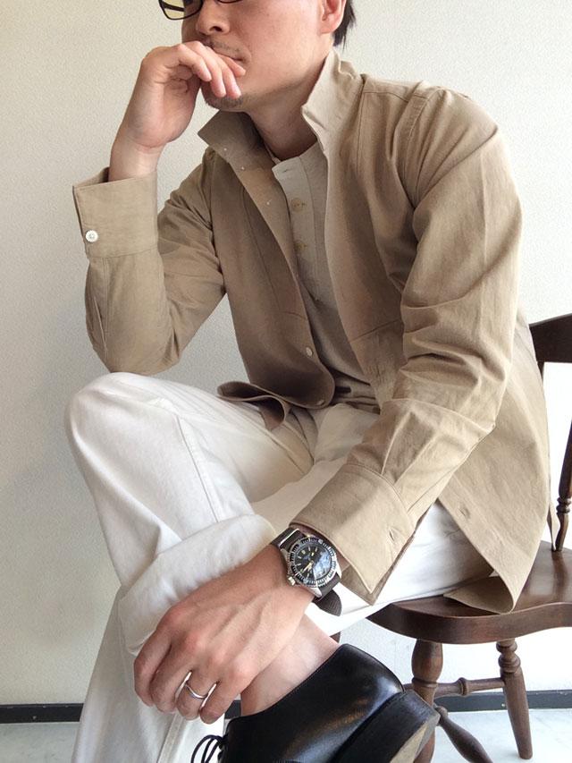 DAハイネックシャツ ベージュ da highneck shirt beige