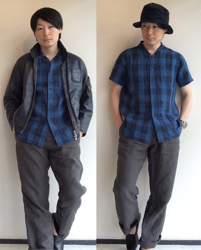 リネンショールカラーハーフスリーブシャツ(white x blue)LINEN SHAWLCOLLAR H/S SHIRT