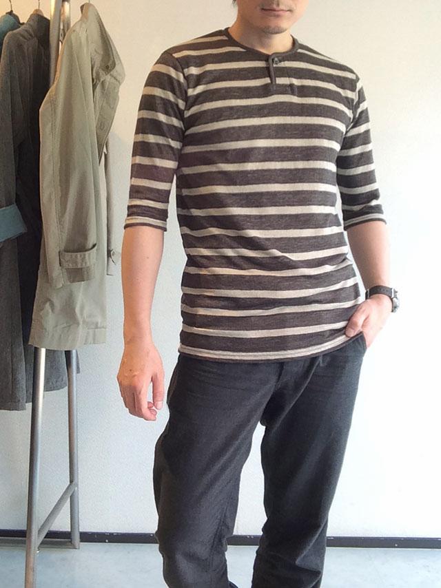 ワンボタンヘンリーネックボーダーリネンTシャツ 1B henleyneck border linen tee greyborder/DjangoAtour