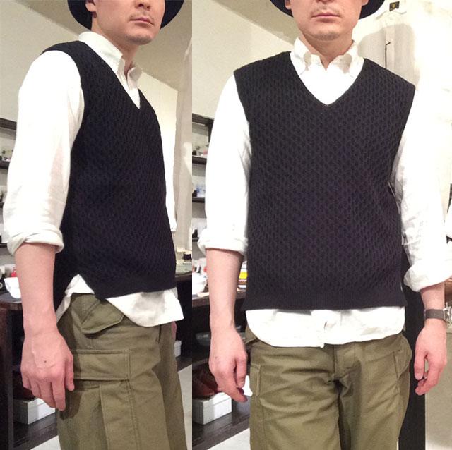 cotton knit v-neck vest DjangoAtour