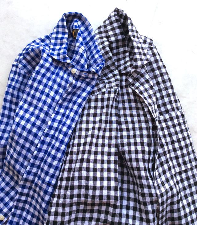 flyfront ginghamcheck linen shirt blue x white/DjangoAtour