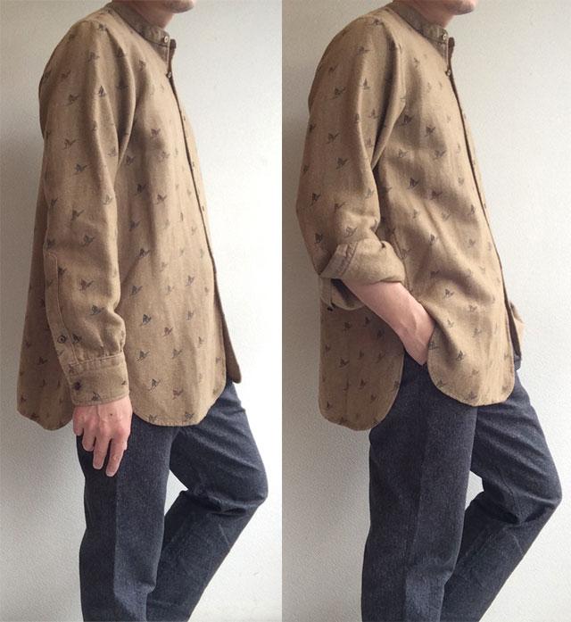 バンドカラーシャツ ボーゲンプリント Band Collar Shirt , Bogen Print/KAPTAIN SUNSHINE