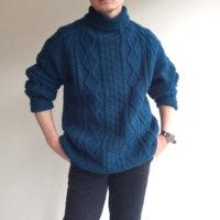 1970's Ilish Oversezed Hand Knit Rare Color Vilidian Blue