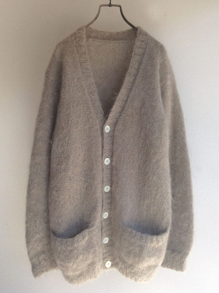 1970's British Mohair Mixed Hand Knit Cardigan Greish Beige