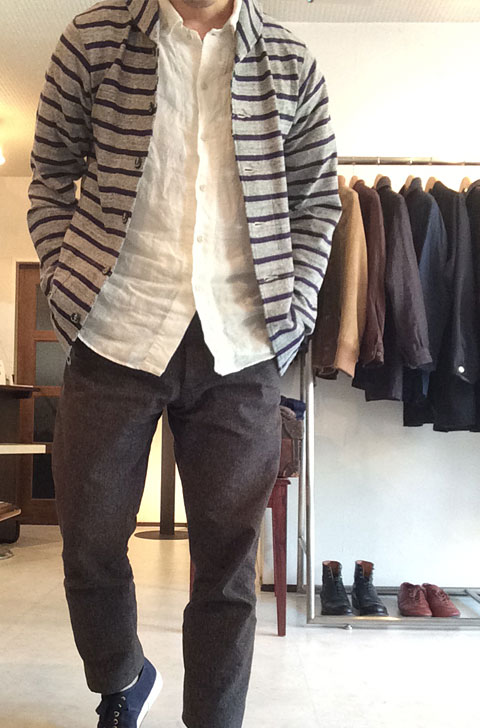 Shawl Collar Cardigan, Gray/Navy/Workers