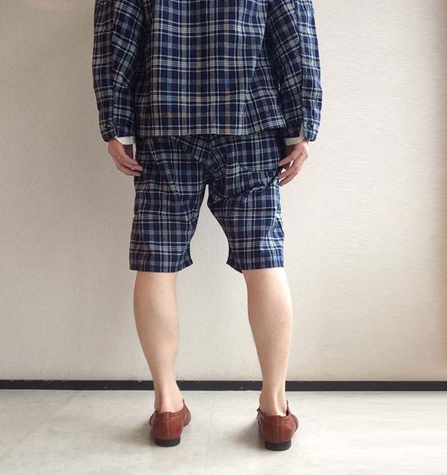 EZ Shorts, Cotton Linen Indigo Check Workers