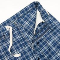 イージーショーツコットンリネンインディゴチェック EZ Shorts, Cotton Linen Indigo Check/Workers