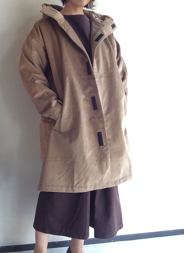 Corduroy Hooded Coat Fawn