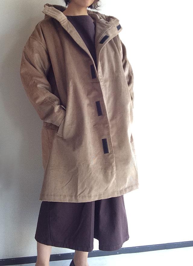 Corduroy Hooded Coat Fawn