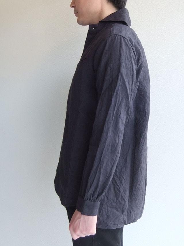 ヴィクトリアンズワークショールカラーシャツ ダークグレー victorians work shawlcollar shirt darkgrey