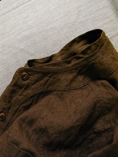 ファーマーズリネンシャツ ブラウン farmers linen shirt brown DjangoAtour