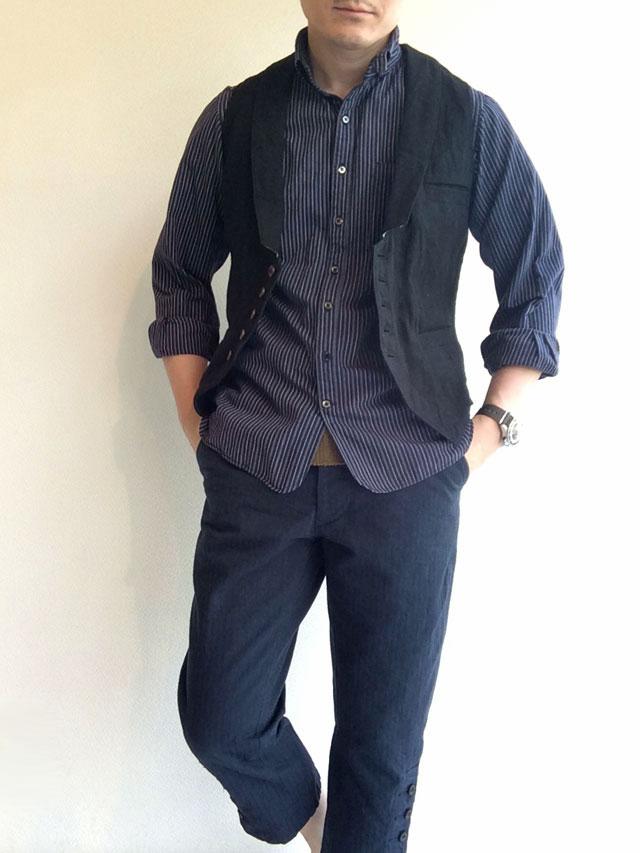 victorians linen waistcoat着用画像
