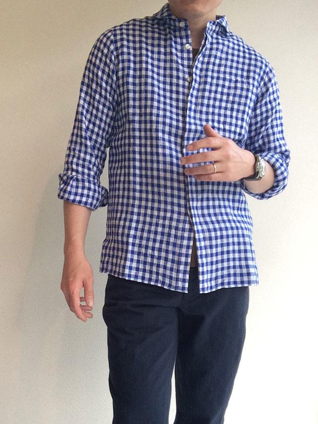 リネンシャツ着用画像