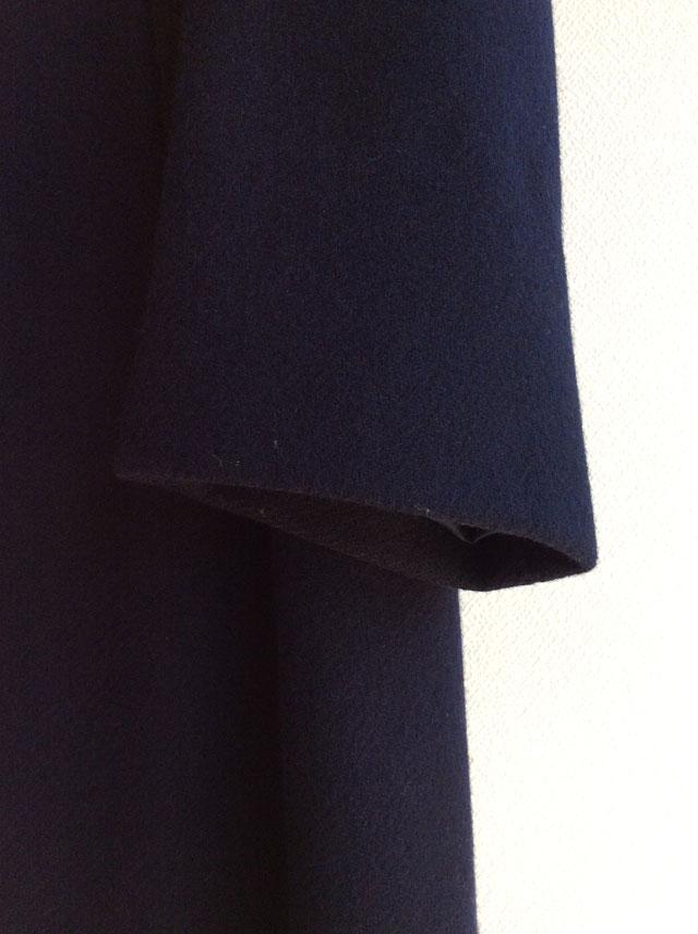 1960's French Wool Melton Bal Collar Coat Dark Navy