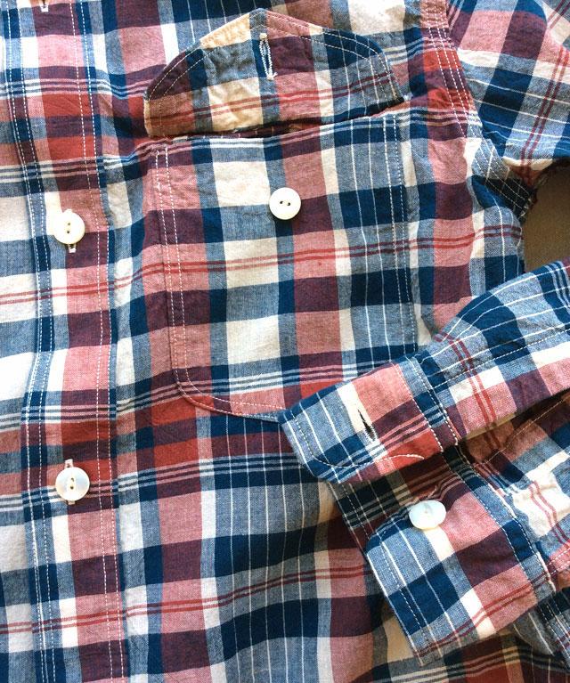 workersワークシャツレッドマドラス