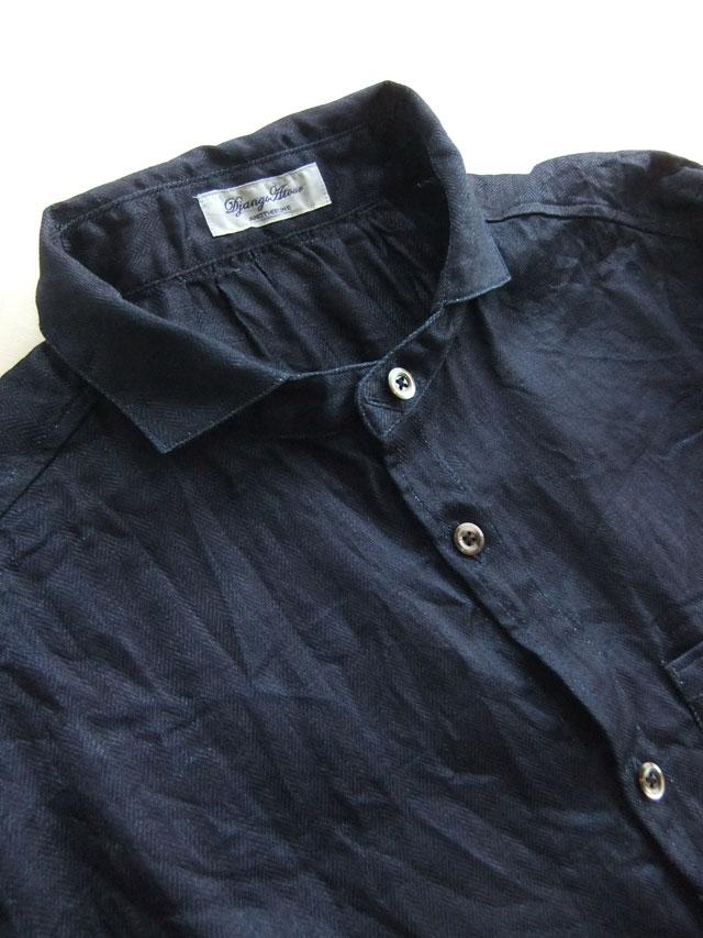 classic frenchwork herringbone indigolinen shirt deepindigo
