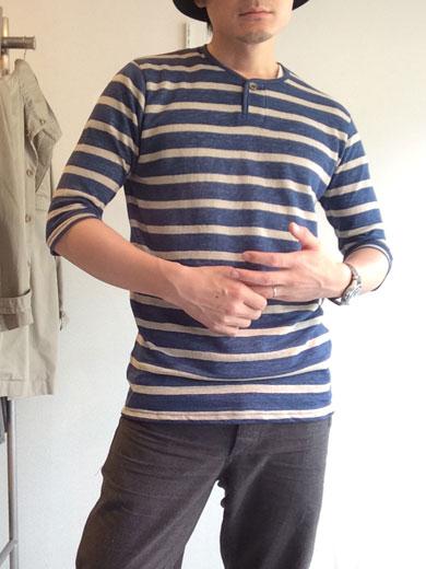 ワンボタンヘンリーネックボーダーリネンTシャツ 1B henleyneck border linen tee blueborder/DjangoAtour
